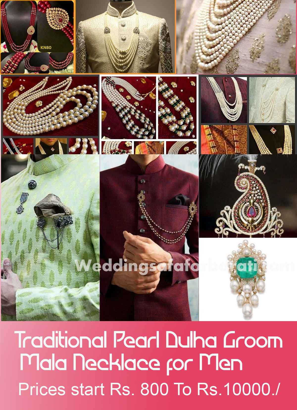 Traditional Pearl Dulha Groom Mala Necklace for Men  delhi, gurgaon, noida